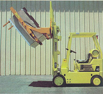 Forklift hoisting bin with Liftmaster